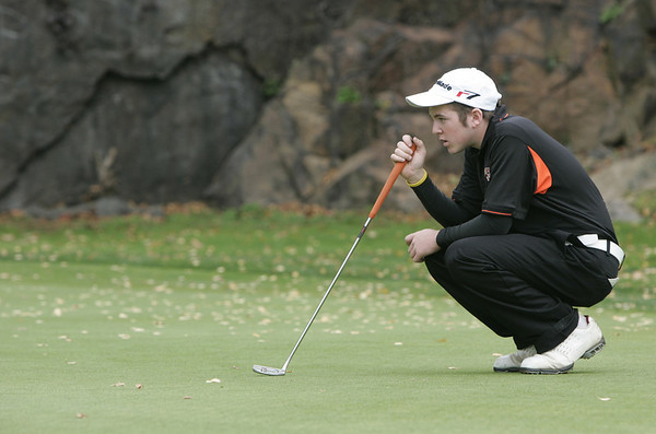 Marblehead: Beverly's Nick Diniciaro lines up his shot during the Northeastern Conference Golf Open held at Tedesco Country Club Thursday afternoon.<br /> Photo by Deborah Parker/Salem News Thursday, October 16, 2008