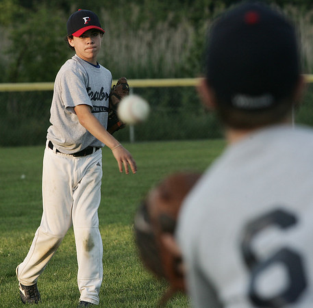 Peabody West Little Leaguer Nick Bona tosses a ball with teammate Cody Wlasuk during pratice yesterday at Cy Tenney Park. The District 15 Little League Williamsport all-star Champions are preparing for the upcoming 2009 tournament that starts next week. Photo by Deborah Parker/June 19, 2009