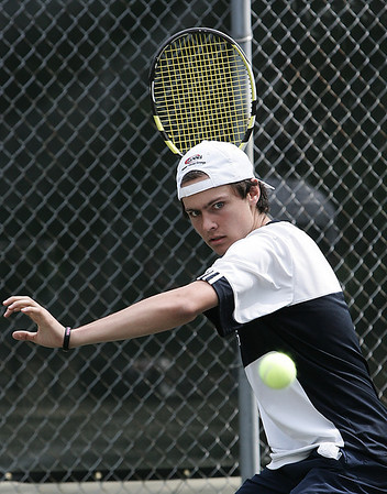 Wenham: Hamilton-Wenham's Chase Curtis warms up before a match on Friday. Photo by Deborah Parker/May 8, 2009