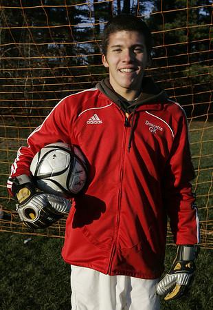 Boxford: Masconomet's Boys Soccer goalie Jon Doucette has had five straight shut outs in the playoffs. Photo by Deborah Parker/Salem News Friday, November 21, 2008