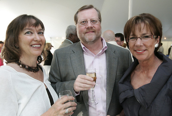 From left, Susan Chadbourne, Roger Deveau, and Kay Maurice, all of Danvers pose together while attending the annual Baron Mayor Champagne Reception held at the Glen Magna Farms in Endicott Park Friday evening. Photo by Deborah Parker/June 19, 2009