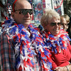 Patrick Devaney of Wakefield and Patricia Lakso of Beverly display their Patriotic pridewhile watching the Beverly Farms annual Horribles Parade Saturday. Photo by Deborah Parker/July 4, 2009