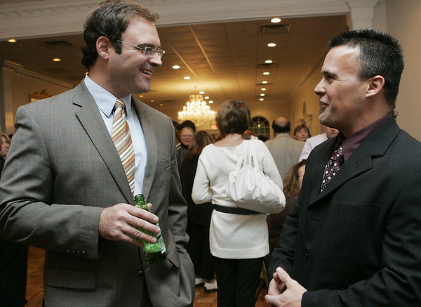 Peabody: Gary Bua of Peabody and Pat Cullen of Haverhill, both Peabody High School Athletic Hall of Fame Honorees, chat together during the cocktail hour of the Hall of Fame Ceremony held at the Jimmy Allenhurst Function Center Friday evening.<br /> Photo by Deborah Parker/Salem News Friday, November 28, 2008