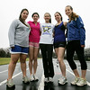 From left, Danvers track and field captians, Marlene Christenson, Christina Kaczynski, Megan Taylor, Maria Pantazelos and Taryn Pydynkowski. Photo by Deborah Parker/March 23, 2010