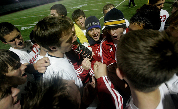 Reading: Masco boys soccer team celebrates on the sidelines after winning in MIAA tournament action against Wilimington 1-0 in double overtime. Photo by Deborah Parker/Salem News Thursday, Novemebr, 13, 2008.
