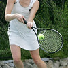 Marblehead's Julia Burke competes in first singles against Belmont during yesterday's Division 2 North state tournament quarterfinals match held in Marblehead. Photo by Deborah Parker/June 8, 2010