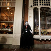 Salem: Dressed as Count Dracula, Kevin Sinclair of Salem stood outside Rockafella's spooking the crowd and posing for pictures.  Photo by Deborah Parker/Salem News Friday, October 31, 2008.