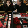 Marblehead: Karen Greenwald and her husband Bruce have created collages of valentines that will be part of a show at the French Library in Boston starting in February.<br /> <br /> Photo by Deborah Parker/Salem News Friday, January 30, 2009