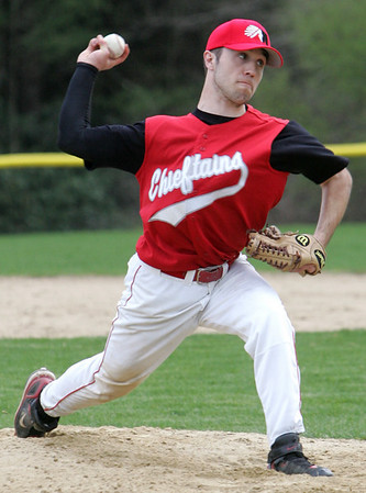 Masco's Gabe Dunn throws out a pitch against Pingree during yesterday's game. Photo by Deborah Parker/April 12, 2010