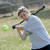 Middleton: North Shore Technical High School standout softball player Emily Pontes works on a drill during practice. Photo by Deborah Parker/Salem News Friday, March 27, 2009.