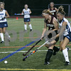 Wenham: Gordon College's Veronica Pierce and Eastern University's Danielle Danser race towards the ball during last night's Field Hockey Classic game held at Gordon. As of the first half, Gordon was down 0-3. Photo by Deborah Parker/Salem News Friday, August 29, 2008