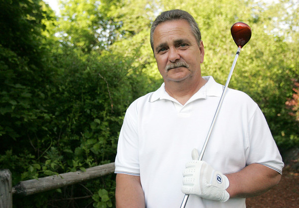Bert Connolly, a frequent recreational golfer, injured his shoulder at work a couple years ago. The surgery to repair a torn ligament wasn't a complete success as he re-tore the ligament during rehab. At that point Connolly went through an arhtriscopic graftjacket surgery at Beverly Hospital performed by Dr. Robert McLaughlin and is on the road to recovery. Soon he will be back on the course thanks to a procedure that can only be done in Beverly in the Boston area. photo by deborah parker/may 24, 2010