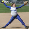 Danvers' Taylor Dullea throws out a pitch during yesterday's game against Peabody. Photo by Deborah Parker/May 11, 2010