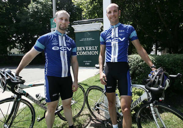 Ron Smithers, left and Chris McKernan, are two of the organizers of the Gran Prix of Beverly, a bike race for professional and amateur riders to be held Aug. 13 in downtown Beverly. Photo by Deborah Parker/July 25, 2009