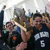 Boston: Swampscott's Tara Nimkar celebrates with her teammates and classmates after defeating Pentucket in thenDivision 3 Final game Saturday at Emmanuel College. Photo by Deborah Parker/Salem News Saturday March 7, 2009.
