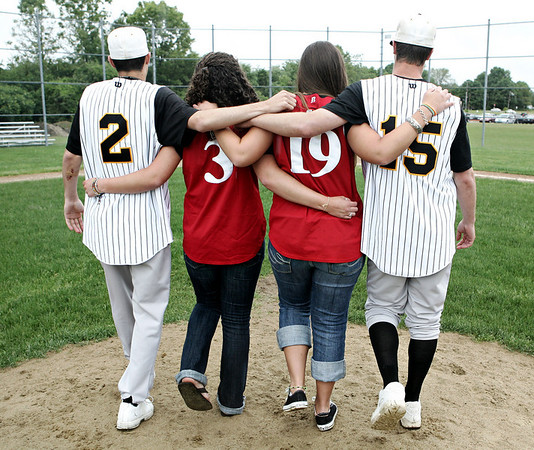 Cousins Andrew, Katie, Stephanie and Nick Guido made a promise to their grandfather before he passed away in 2007, that they would make varsity that year. All four made varsity at their respective schools, Masconomet and Bishop Fenwick. Photo by Deborah Parker/May 27, 2009.