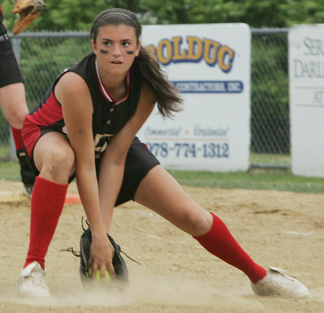 Salem's Darcy Teriault fields a ball during yesterday's Division 1 North first round state trounament softball game against Chelmsford held at Mack Park in Salem Thursday afternoon. Photo by Deborah Parker/June 3, 2010