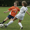 Wenham: Salem State's Jennifer Surabian fight for control of the ball against Gordon College's Kelly Donlan  during their game Thursday afternoon.<br /> Photo by Deborah Parker/Salem News Thursday, September 25, 2008