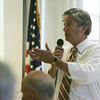 Congressman John Tierney answers questions while at the Council on Aging in Danvers Tuesday afternoon. The visit is part of the Congressman's Listening Tour. PHoto by Deborah Parker/August 17, 2010