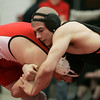 Salem: Beverly's Tom Cacciola wrestles with North Attleboro's John Wainwright in the 215 lbs match during the All-State Wrestling Championships held at Salem High School Saturday. Photo by Deborah Parker/Eagle Tribune Saturday February 28, 2009.