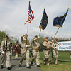The color guard presents the colors at Veterans Memorial Feilds at Thorpe School during a short ceremony Sunday afternoon. From left, Greg Strogny of Danvers, Stu Wood of Salem, Jerry Manning of Danvers, Dick Moody of Danvers and Art Small of Danvers. Photo by Deborah Parker/April 25, 2010