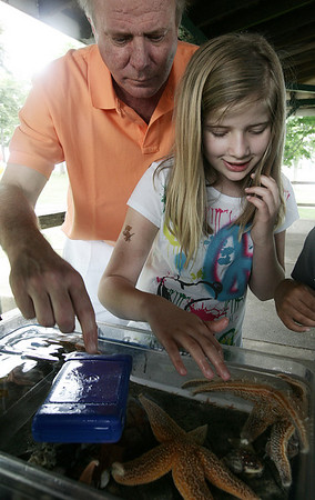 Anastasia Stefanski, 9, of Salem, along with her dad, Mark, touch and feel starfish at a table display by the New England Aqauriuam while at the Annual Read Science and Family Picnic at Salem Willows Saturday. The event, open to all Salem Elementary school students and their families, featured science tables along with access to food and rides at the Willows. Photo by Deborah Parker/June 20, 2009
