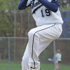 Peabody's Joe Gruntkosky throws out a pitch against Salem during Monday afternoon's game held at Veterans Memorail High School. Photo by Deborah Parker/April 26, 2010