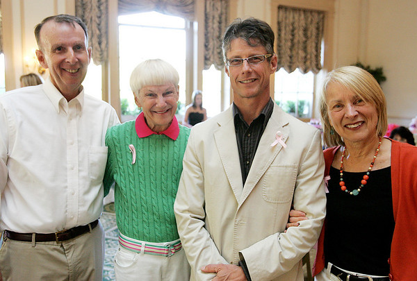 From left, Jim Fuller of Salem and his wife, Betsy Naseck, a breast cancer survivor, along with Rich Klajnscek of Gloucester and his wife Elsje Zwart, attend the Miss Pink Pageant held at the Hawthorne Hotel Friday evening. Breast cancer survivors competed in the pageant to raise awareness and spoke about their experience with cancer. Photo by Deborah Parker/May 21, 2010