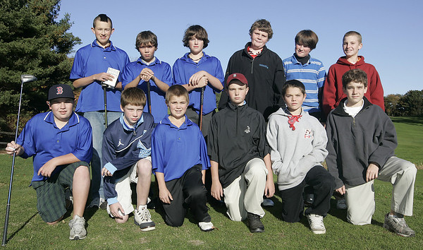 Wenham: The first ever Danvers-Marblehead middle school golf match was held at Lakeview Golf Course Thursday. From left, top row, Zack Burns, Colby Sedlier, Trent King, Will Vigneron, Trevor Jones, Same Stern. From left, bottoem row, Alex Taylor, Mark McCarthy, Dan McKenna, Pitch Riley, Cam Rowe, and Corey Finch.<br /> Photo by Deborah Parker/Salem News Thursday, October 23, 2008