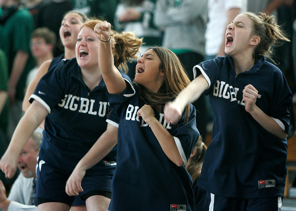 Boston: Members of the Swampscott girls basketball team cheer as the team scores during the final minutes of their Division 3 Final game against Pentucket Saturday at Emmanuel College. Photo by Deborah Parker/Salem News Saturday March 7, 2009.