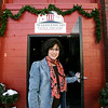 "Shari Frost stands outside the Marblehead Little Theatre. The Marblehead Little Theatre is beginning a new program, ""Have You MLT(d) today?"" -- meant to increase membership through teas, book clubs, writing groups and talks. Photo by Deborah Parker/January 12, 2009"