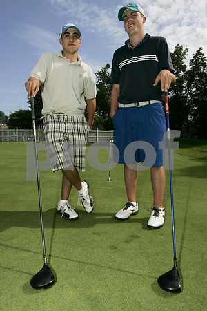 Danvers: Jay Rinaldi, left and Troy Thibodeau are two returning Danvers High School golf stars.<br /> Photo by Deborah Parker/Salem News Friday, August 29, 2008