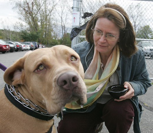 Reverand Annika Kleschinsky of Heartlight Peace Ministires of Swampscott blesses Missy from Peabody during the Northeast Animal Shelter's Blessing of the Animals event Saturday. Photo by Deborah Parker/October 10, 2009