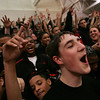 Salem High freshman Nick Salamida cheers on Salem during last night's Division 2 North semi final game against Dracut held at Woburn High School Photo by Deborah Parker/March 3, 2010<br /> , Salem High freshman Nick Salamida cheers on Salem during last night's Division 2 North semi final game against Dracut held at Woburn High School Photo by Deborah Parker/March 3, 2010