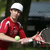 Marblehead's Tyler Gelineau competes in yesterday's match against St. John's Prep held in Danvers. Photo by Deborah Parker/May 11, 2010