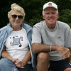 Anita and Dick Sullivan of Peabody pose for a picture while cheering on their grandson, Ben, a player for the Diamondbacks  during their Little League game against the Athletics at Cy Tenney Park Sunday afternoon. Photo by Deborah Parker/May 31, 2009