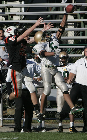 Lynn Classical's Omale Rodriguez blocks a pass intended for Beverly's Blake Sullivan during Saturday's game held at Hurd Stadium in Beverly. Photo by Deborah Parker/October 9, 2010