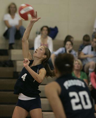 Topsfield: Peabody's Mackenzie Carpenter tips the ball over the net during yesterday's match against Masconomet Regional High School. Photo by Deborah Parker/Salem News Friday, September 26, 2008