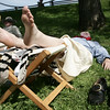 A reenactor takes a rest following the afternoon battle for Fort Sewall as part of Glovers Regiment Encampment this weekend at Fort Sewell. Photo by Deborah Parker/July 11, 2009