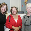 Celeste Begley fo R&L Associates, Margie Cantor and Laurel Mervis, both of Encore Images, attend the launch of the Chamber Professionals Group, part of the Marblehead Chamber of Commerce, held at Marblehead Bank Monday evening. Photo by Deborah Parker/September 20, 2010