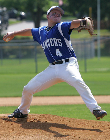 Danvers' Greg Ladd throws out a pitch against Arlington during yesterday's Division 2 North first round state tournament game held at Twi-Field in Danvers.  Photo by Deborah Parker/June 4, 2010