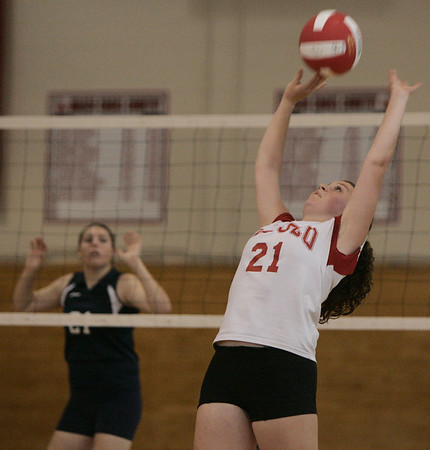 Topsfield: Masco's Catherine Rose tips the ball over the net during yesterday's match against Peabody hed at Masconomet Regional High School. Photo by Deborah Parker/Salem News Friday, September 26, 2008