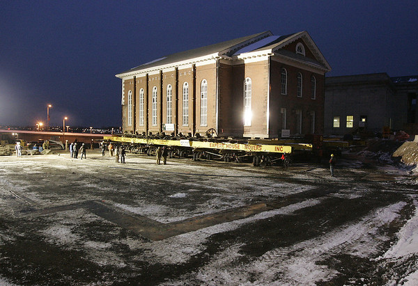 Salem: Salem's First Baptist Church, a two hundred year old building, is slowly moved to it's new foundation on Federal Street Friday evening.<br /> Photo by Deborah Parker/Salem News Friday, January 02, 2009