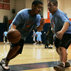 Salem: Bryon Lara goes up against Adonis Medrano, both of Salem while competeing in a basketball tournament co- sponsored by the Gang Resistance Education and Trainging, (G.R.E.A.T) and Boys & Girls Club of Greater Salem held at Salem State College. All Saturday morning four courts were filled with kids competing to win the tournament. Photo by Deborah Parker/Salem News Saturday, March 21, 2009.