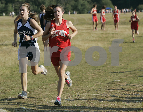 Topsfield: Hamilton-Wenham's Emily LaNois and Masco's Abbey D'Agostino compete in their meet held at Bradley Palmer State Park Thursday afternoon. Emily LaNois placed first while D'Agostino was second. Photo by Deborah Parker/Salem News Thursday, September 04, 2008