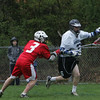 Hamilton Wenham's # 9  ___ is defended by Masco's MIke Plourde during yesterday's game held at Hamilton Wenham High School. Photo by Deborah Parker/April 16, 2010<br /> , Hamilton Wenham's # 9  ___ is defended by Masco's MIke Plourde during yesterday's game held at Hamilton Wenham High School. Photo by Deborah Parker/April 16, 2010