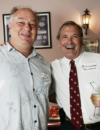 Jim Armstrong of Armstrong Field Real Estate and Jay Wheeler of BCS Consultants attend Chamber After Hours, a Salem Chamber of Commerce networking event held at Caffe Graziani Thursday evening. Photo by Deborah Parker/August 20, 2009