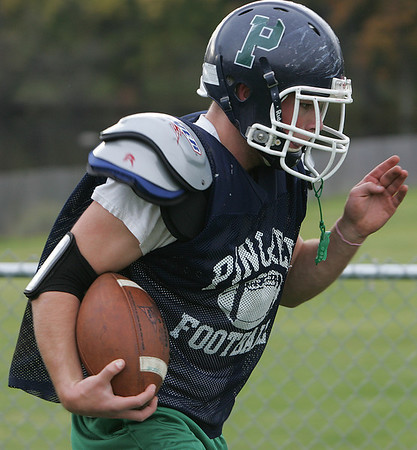 Pingree's Charles Taft works on a drill during practice Thursday afternoon. Photo by Deborah Parker/October 22, 2009