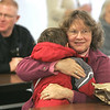 Toby Adams, 5, of Ipswich gives his grandmother, Marie Boucher of Gloucester a big hug during lunch at the Doyon Elementary School. This week students were invited to bring their grandparent to lunch. Photo by Deborah Parker/november 16, 2010