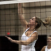 Peabody volleyball member Danielle Pierce spikes the ball during practice at the high school yesterday afternoon. Photo by Deborah Parker/September 2, 2009